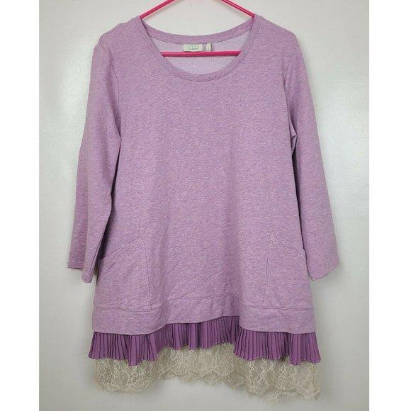 LOGO Lounge Womens Purple Pleated Layered Lace Hem 3/4 Sleeve Tunic Top Large